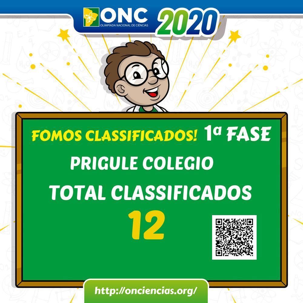 Imagem mostrando a classificação dos alunos Prígule na ONC, 12 alunos foram classificados.
